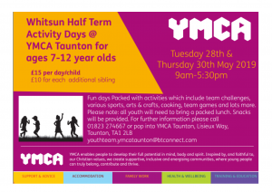 Whitsun half term Holiday Activities May 2019
